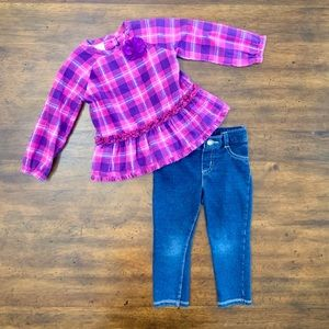 2pc Plaid Top and Denim Legging Set 18 months GUC